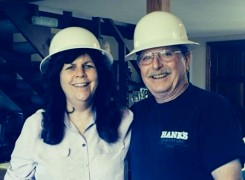 Steve and Val hard hat-ting it!
