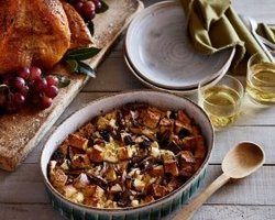 Focaccia Bread Pudding with Wild Mushrooms and Goat Cheese