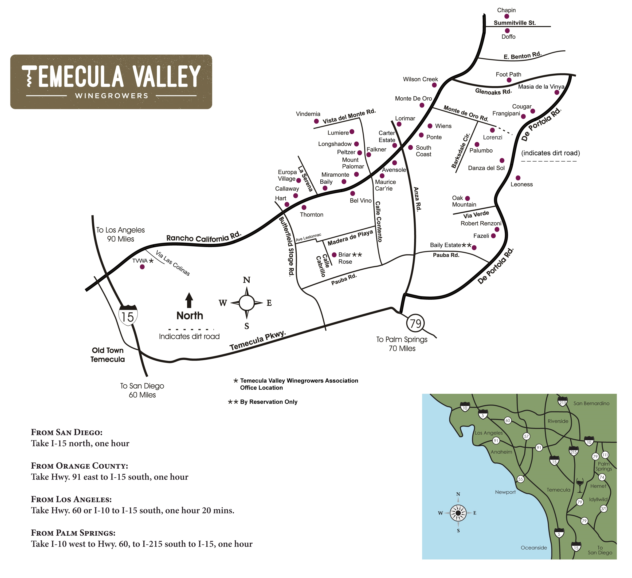 Temecula Valley Winegrowers Association Winery Map - Los angeles road map download