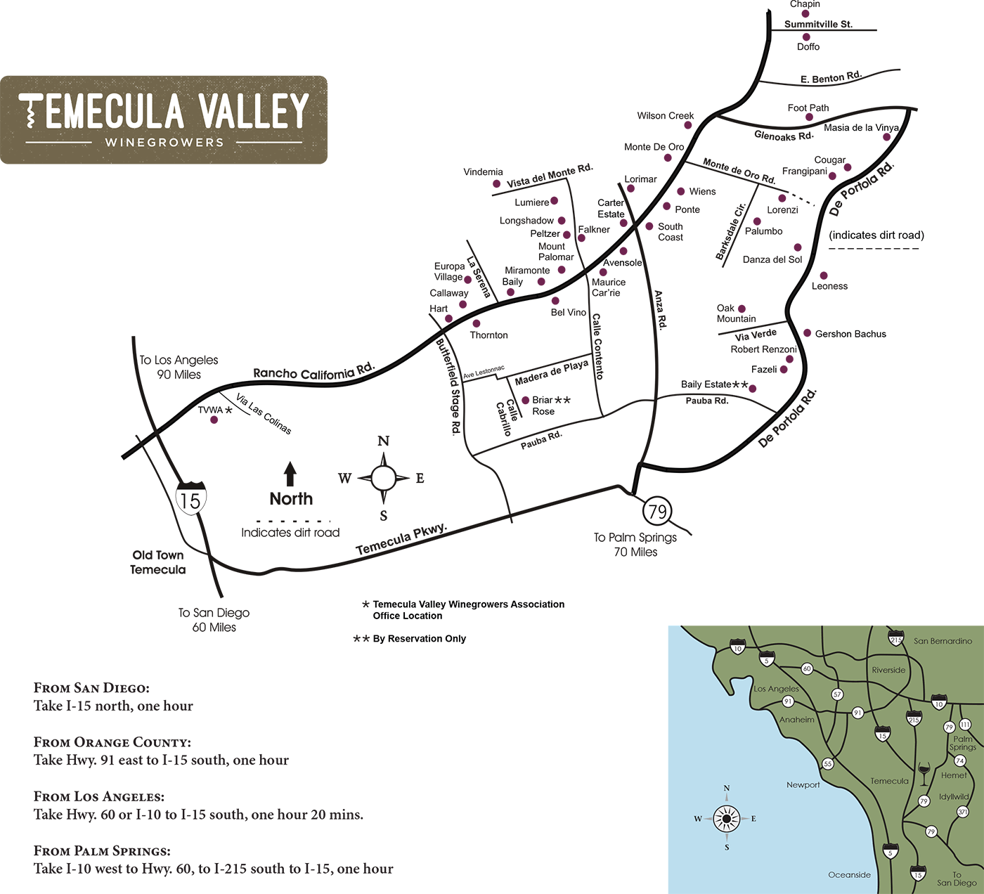 winery map. temecula valley winegrowers association  winery map